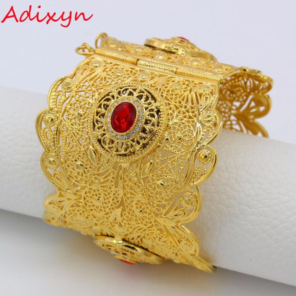 Adixyn 72MM Big Bangle Women Gold Color Dubai Style Jewelry Luxury African Wedding Bracelets W/Stone Arab Middle East N13012 classic big heavy two tone style gold color mens bangle friendship bracelets
