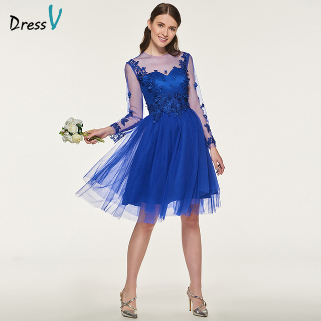 Dressv Dark Royal Blue Bridesmaid Dress Long Sleeves Knee Length A Line Liques Jewel Neck Wedding