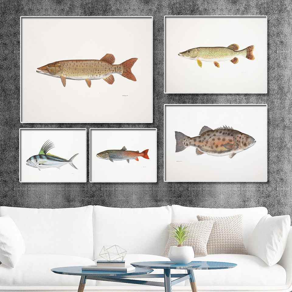 Home Decoration Print Canvas Wall Art Picture Poster Paintings Horizontal Realistic fish fingerprints 2 For Living-room
