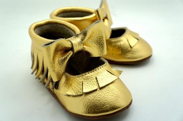 New gold 2015 niñas Mary Jane zapatos arco de Cuero Genuino zapatos de bebé Primeros Caminante Del Niño recién nacido bebé Zapatos mocasines