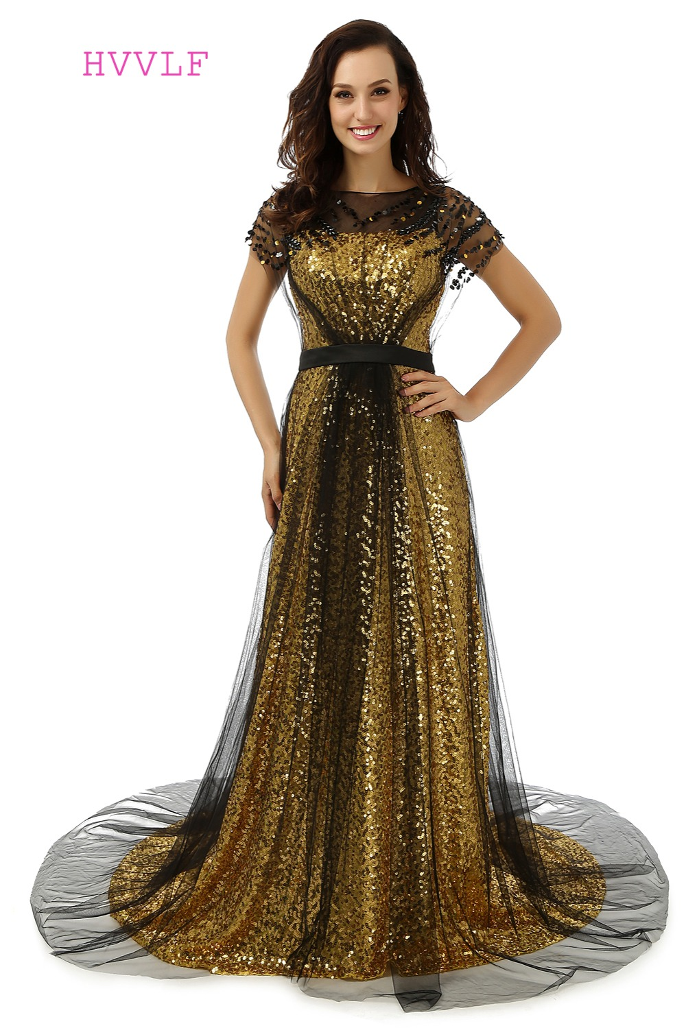 Black Gold Robe De Soiree 2019 A-line Short Sleeves Sequins Sparkle See Through Women Long   Prom     Dresses     Prom   Gown Evening   Dress
