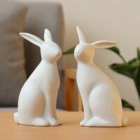 Set of 2 Simulation Rabbit Statue White Matt Ceramic Bunny Sculpture Decorative Ornament Best Gift