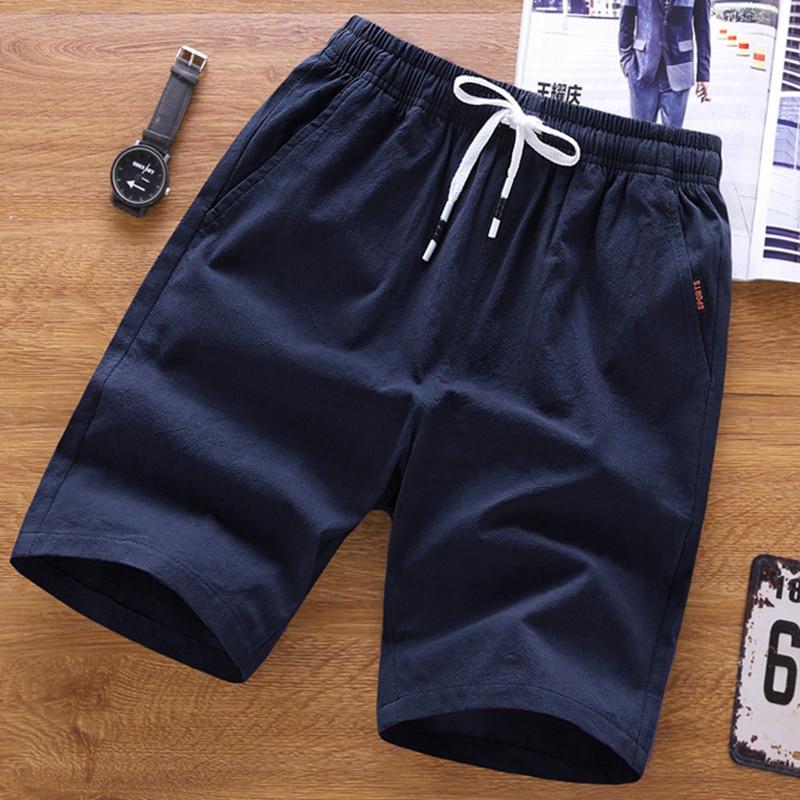 2019 Men's Shorts Solid Color Classic Casual Shorts Stylish Breathable Summer Basic Section Elastic 5XL Waistband Fish Bone