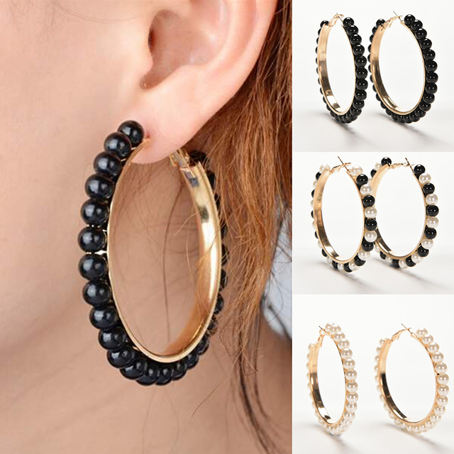 a599a101b383b US $1.0 16% OFF Aliexpress.com : Buy 1 Pair Black White Pearl Earring With  Stainless Steel Pin Big Circle Loop Earrings New Arrival Women Girls ...
