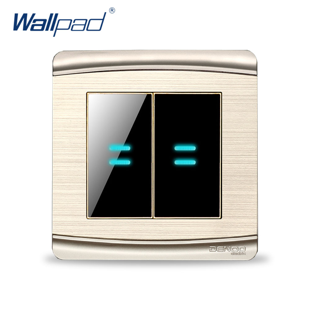 Free Shipping 2017 Hot Sale 4 Gang 2 Way Wallpad Luxury LED Wall Light Switch Panel 16A AC 110-250V double computer socket free shipping hot sale china manufacturer wallpad push button luxury arylic mirror panel wall