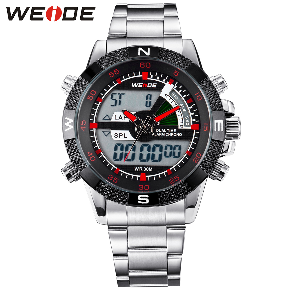 WEIDE Men Sport Wristwatches Analog Quartz LCD Digital Dual Movement Stainless Steel Band Date Stopwatch Alarm Big Dial relojes weide luxury brand sport watch quartz analog lcd digital stainless steel band date black dial alarm military men watches wh3403