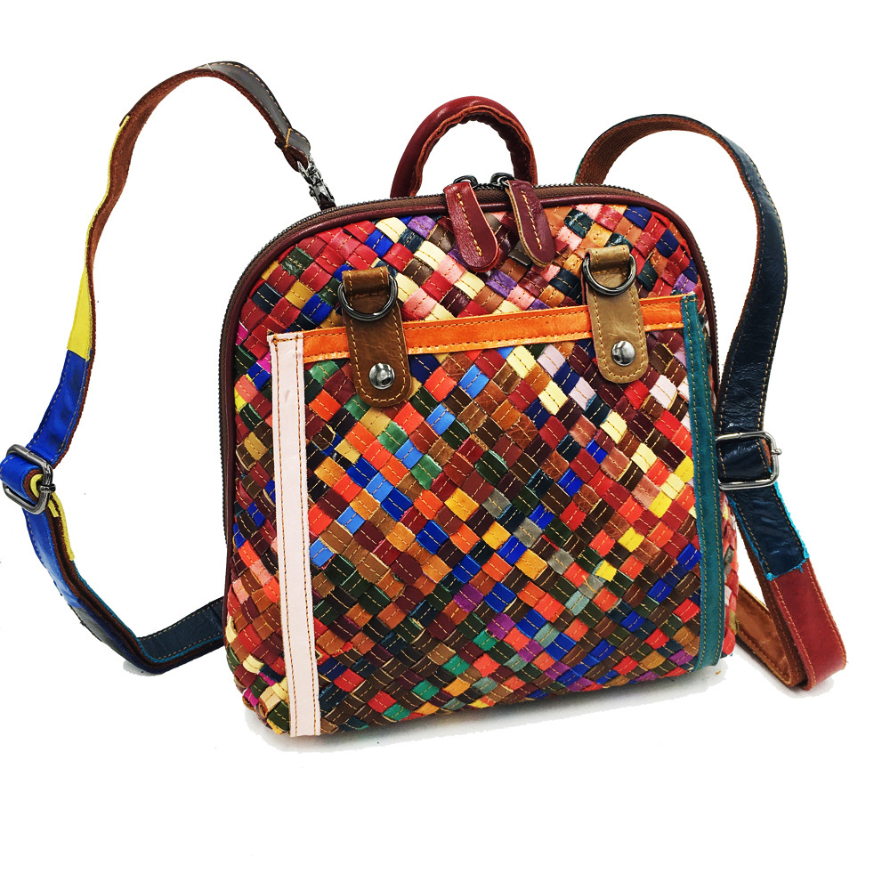 2018 manufacturers custom-made leather bag Hand-woven sheepskin backpack plaid fashion national wind female bag