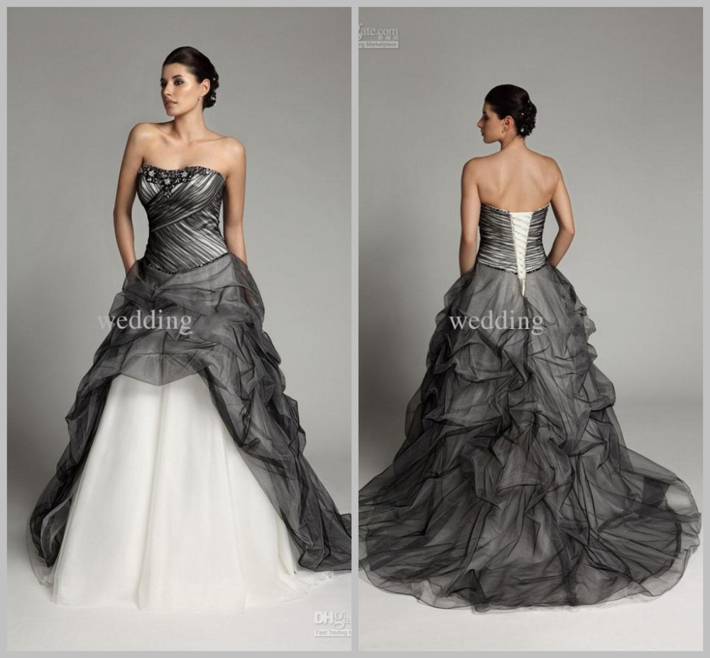 Compare prices on grey wedding dresses online shoppingbuy low 2017 gothic wedding dresses grey white beading sweetheart strapless sleeveless court train wedding gown organza corset ombrellifo Gallery