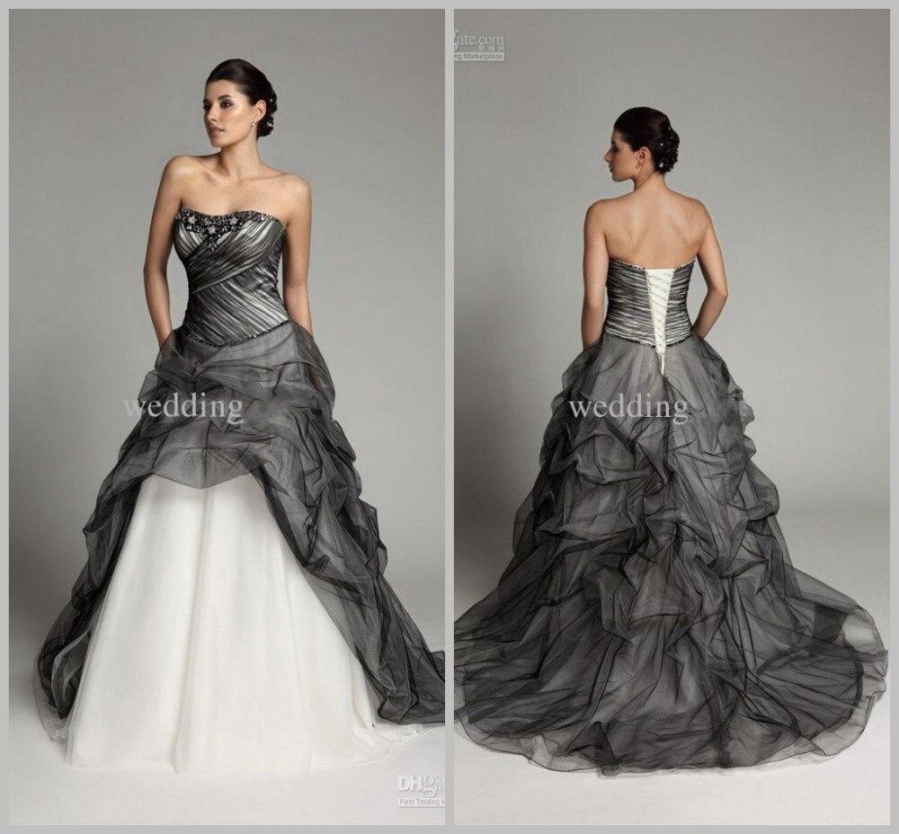 2018 Gothic Wedding Dresses Grey White Beading Sweetheart