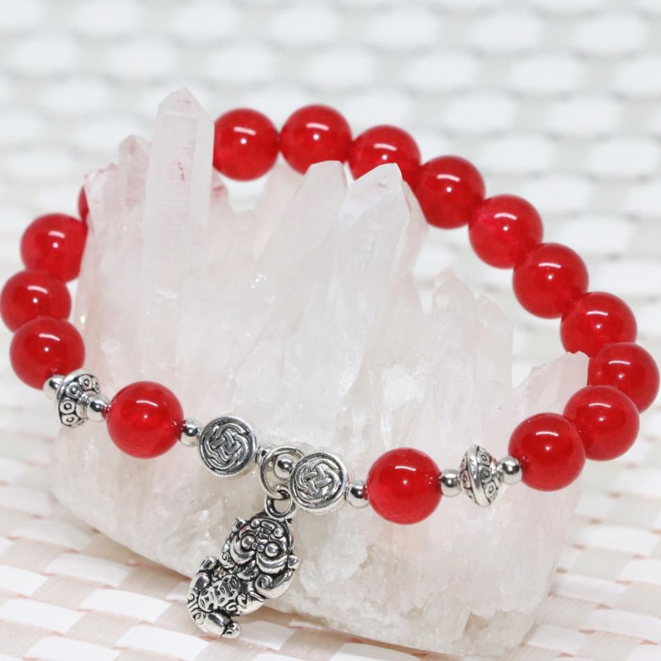 cc7f22ee845a 8mm rojo natural Calcedonia Jade piedra Strand pulseras redondo perlas  Tíbet joyería pendiente 7.5 inch B2007