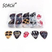 SOACH 50pcs 0.46/.071/1.0mm High quality print Guitar picks Multi-picture mix + 10 grid Box Set Guitar Parts & Accessories