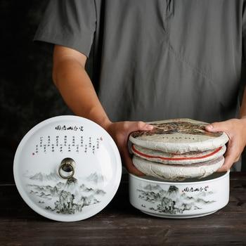 ящик для хранения чая | 3 шт. 375 г Pu'er хранение кондитерских изделий бак пейзаж узор керамическая чайница мыть аквариум цветочный горшок еда герметичная коробка кон...