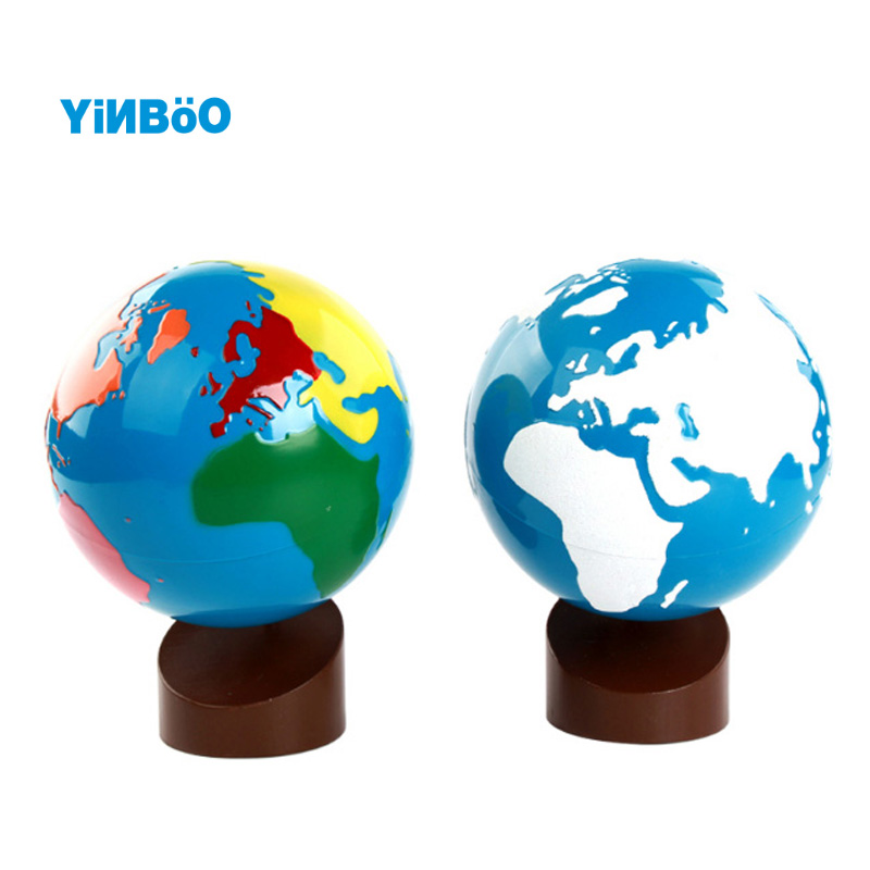 Babyspielzeug Montessori Earth Globe Kunststoff- und Holzwerkstoffe Lernen Sie, wie man Kinder in der Welt lernen kann
