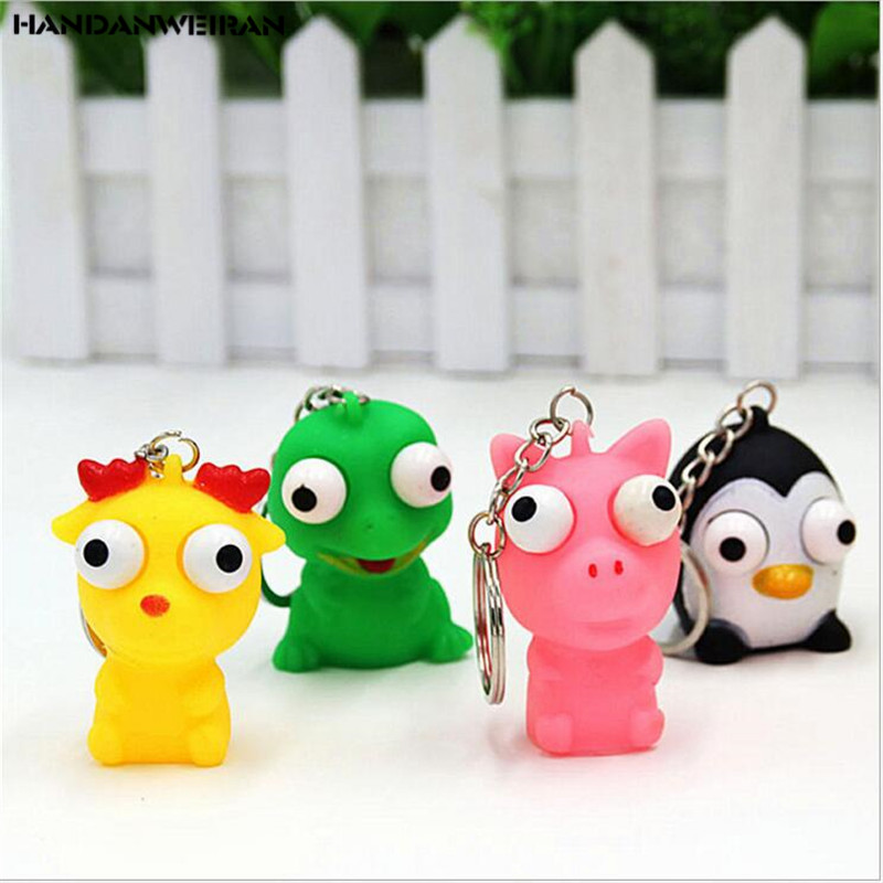 Original 1pc Mini Animal Anti Stress Ball For Bag Accessories Fun Antistress Extruding Big Raised Eyes Doll Squeezing Pandent Luggage & Bags