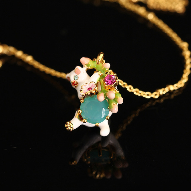 France LES Nereides 2016 New Enamel Meng Kitten Crystal Gold Plated Necklace For Women Fine Jewelry Free Shipping