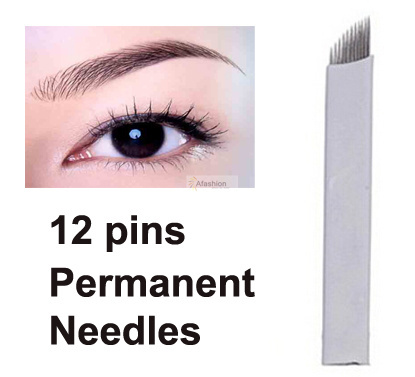 30pcs Eyebrow 12pins Permanent Makeup Needles For Eye Tattoos Prong Flat Blades 3d Microblading Embroidery