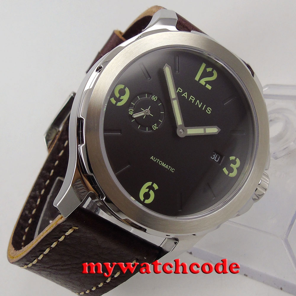 44mm Parnis black dial steel case Sapphire glass date Automatic Mens Watch P779 цена и фото