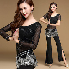 Sequins Long sleeves Short sleeves bollywood dance costumes Indian Practice belly dance costume set