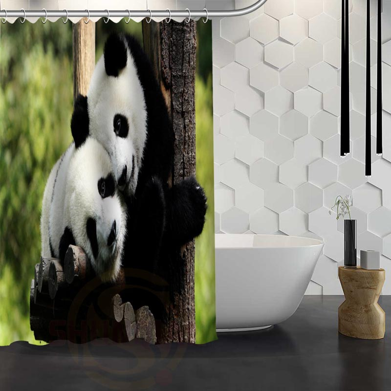 Cute Panda Shower Curtain Pattern Customized Bathroom Fabric For Decor Hsq326018r In Curtains From Home Garden On