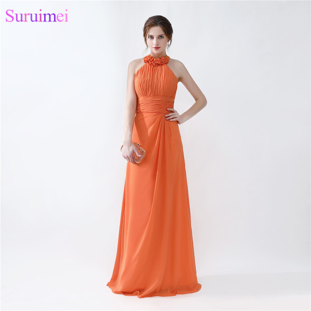 Orange Bridesmaid Dresses Floor Length Pleated Peach Color Chiffon On Halter
