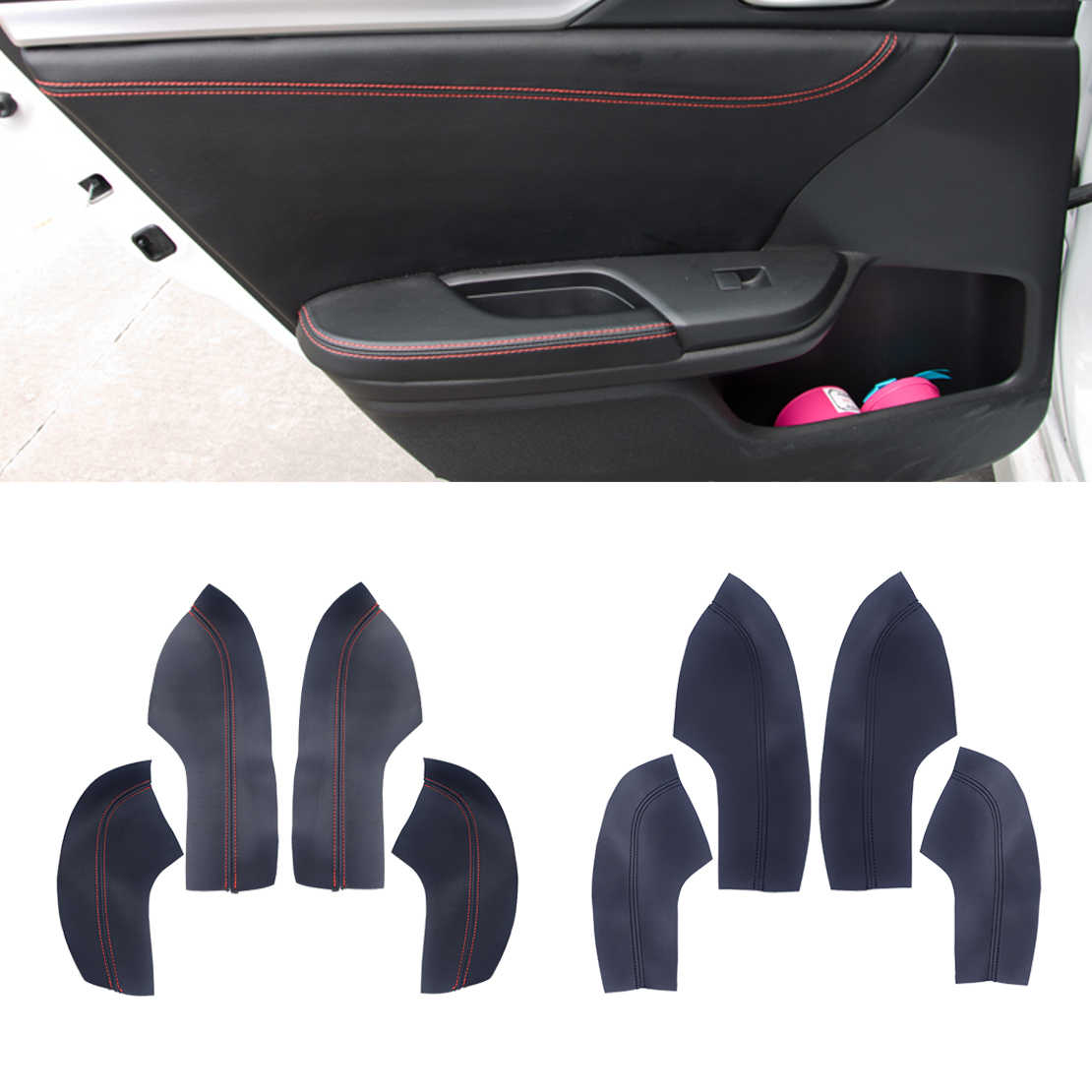 DWCX 4pcs Inner Door panel Armrest Protective Sleeve Trim PU Leather Surface Shell Cover Fit for Honda Civic 10th 2016 2017 2018