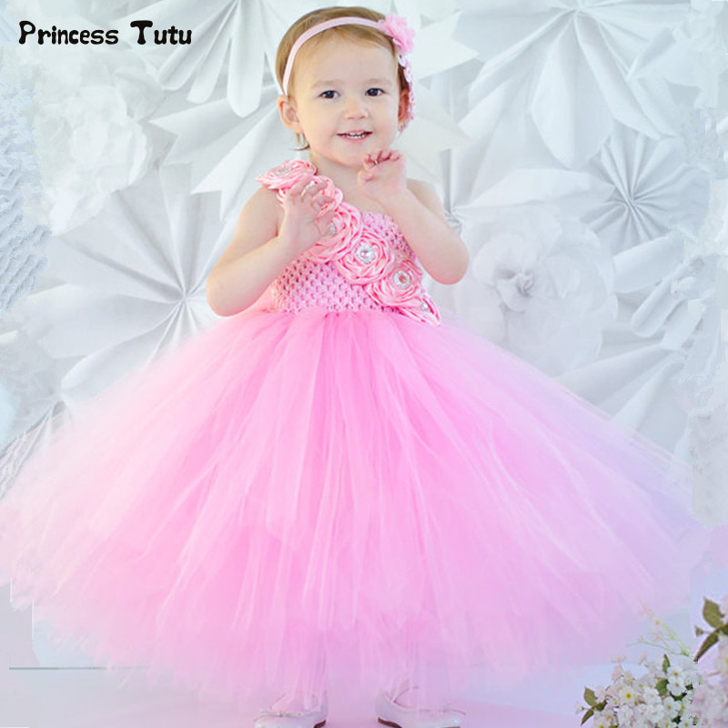 Elegant Sweet Girls Princess Tutu Dress Kids Party Wedding Tulle Flower Girl Dresses Pink,White Rose Flower Girl Ball Gown Dress