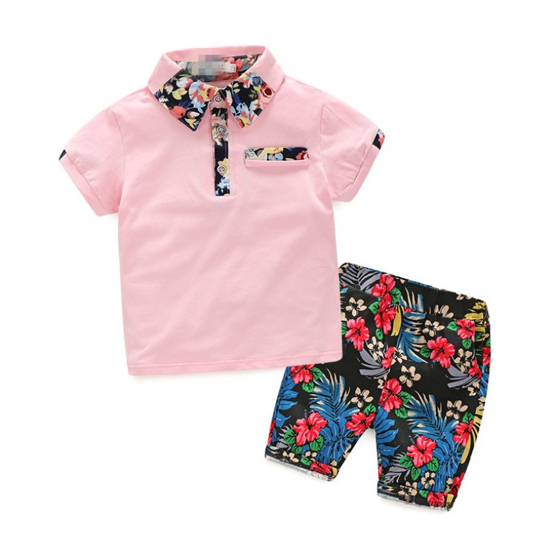 Summer 2018 Kids Clothes fashion Baby Boy Clothes Floral Shirt And Shorts Two Piece Set Toddler Boys Tops Kids Costume Tracksuit