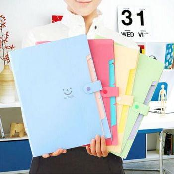 New 10 Color A4 File Document Bag Waterproof Carpeta File Folder 5 Layers Archivadores Anillas Document Bag Office Stationery 2
