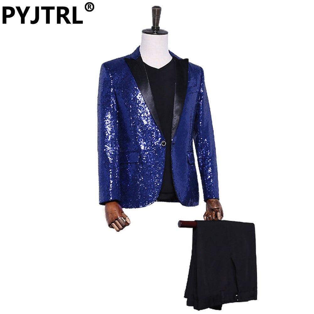 (Jacket+Pants) Royal Blue Mens Paillette Twinkle Suits Stage Show Host Chorus Banquet Palace Suit Sequin Shiny Tuxedo Wedding