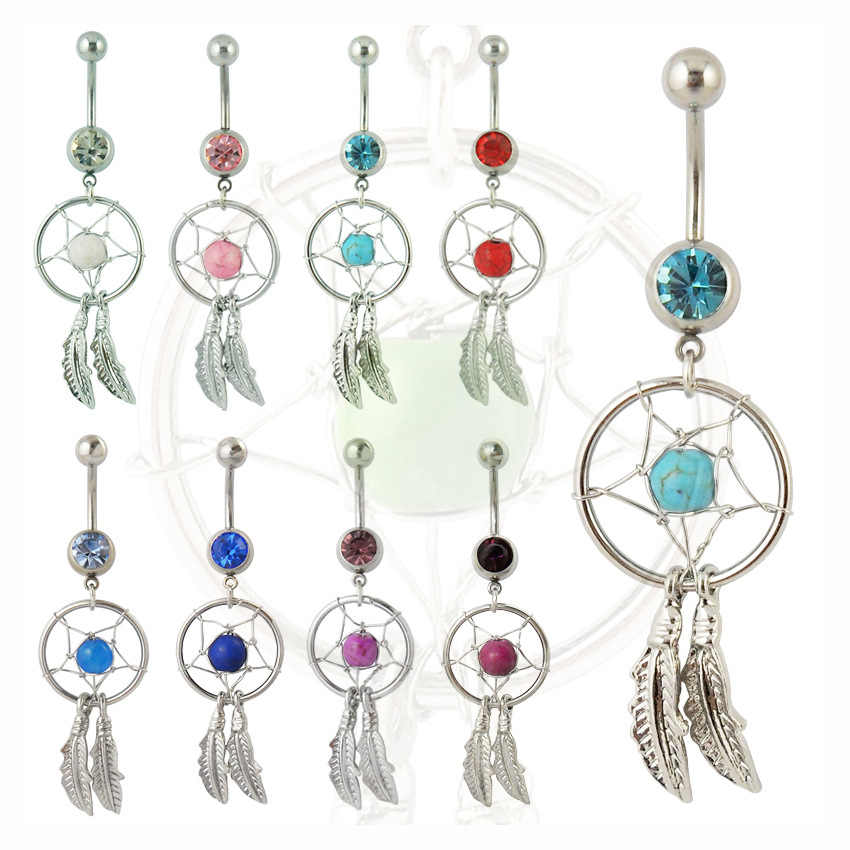 Hot Vrouwen Punk Rock Dream Catcher Navel Dangle Belly Button Barbell Body piercing Sieraden Body Art