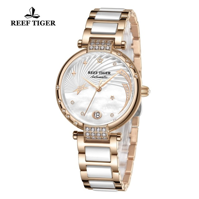 Reef Tiger/RT Top Brand Luxury Women Watch Ceramic Rose Gold Bracelet Diamond Automatic Mechanical Shell Watches Clock RGA1592 2