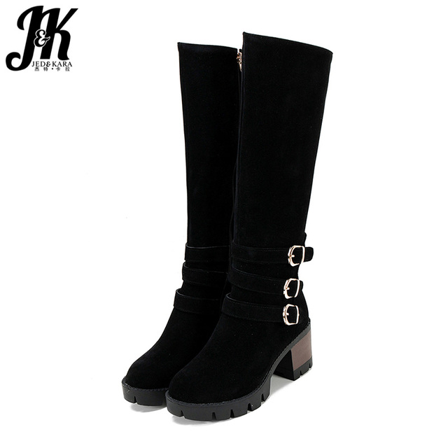 JK Winter High Heels Women Boots Round Toe Flock Footwear Zip Fashion Female Motorcycle Boots Platform Shoes Women 2018 Black