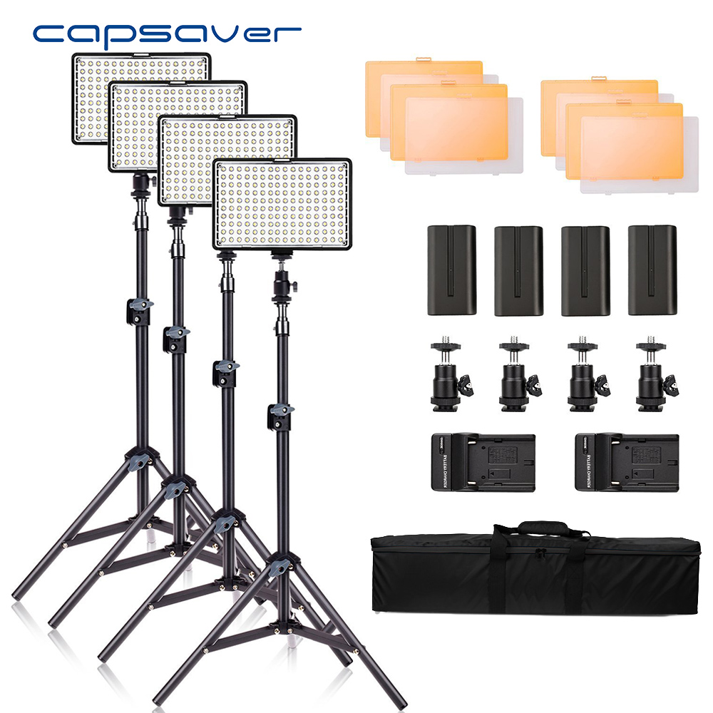 capsaver TL-160S 4 Sets LED Video Light Photography Lighting for Photo Studio YouTube Shooting 3200K/5600K CRI85 LED Lamp Kit