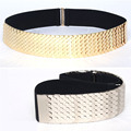 Fashion metal Wide Elastic Black Belt Women Gold silver Belt Metal Fish Skin Keeper Brand Belts for Women