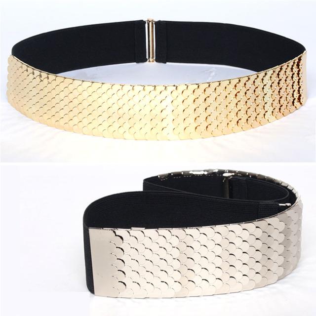 Moda metal Wide Elástico Mulheres Cinto Preto Cinto De Metal Ouro prata Pele de Peixe Keeper Cintos de Marca para As Mulheres