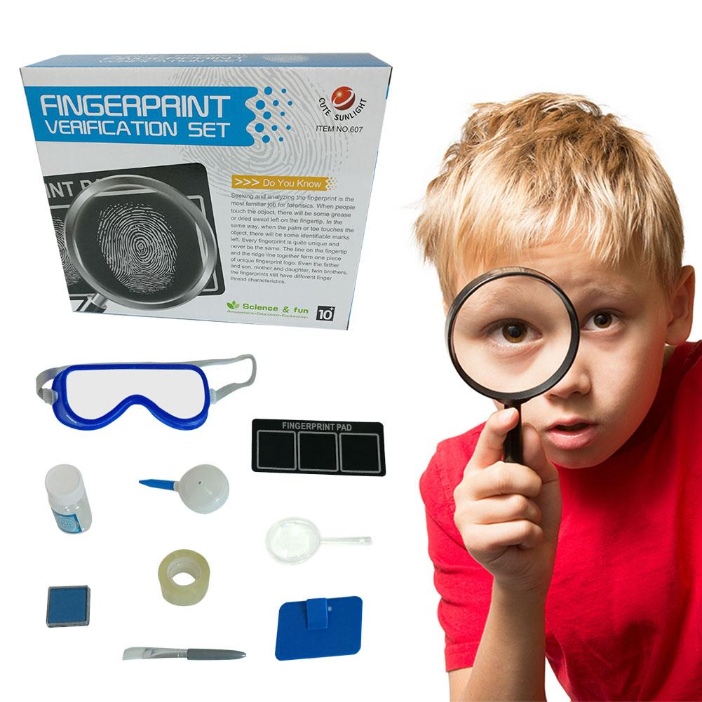 Children's Fingerprint Toy Spy Detection Kit Simulation Play House Toy Set Kids Technology Early Education Toys