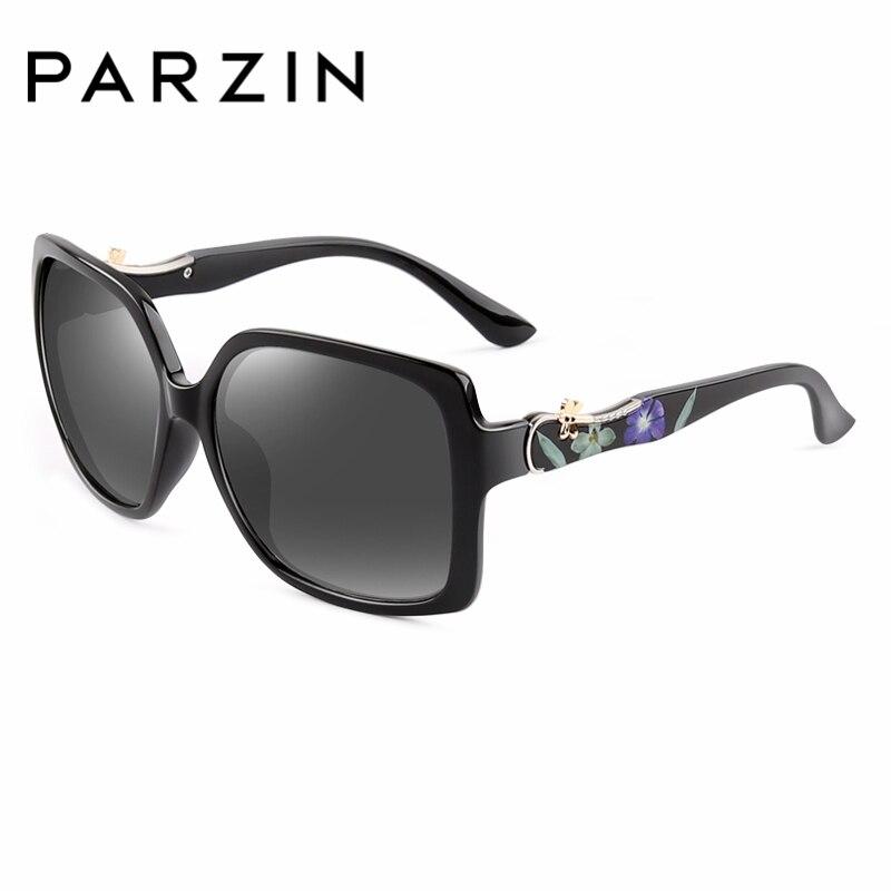 PARZIN Luxury Elegant Printing Frame Sunglasses For Women Square Big Frame Polarized Pattern Sun Glasses For Driver