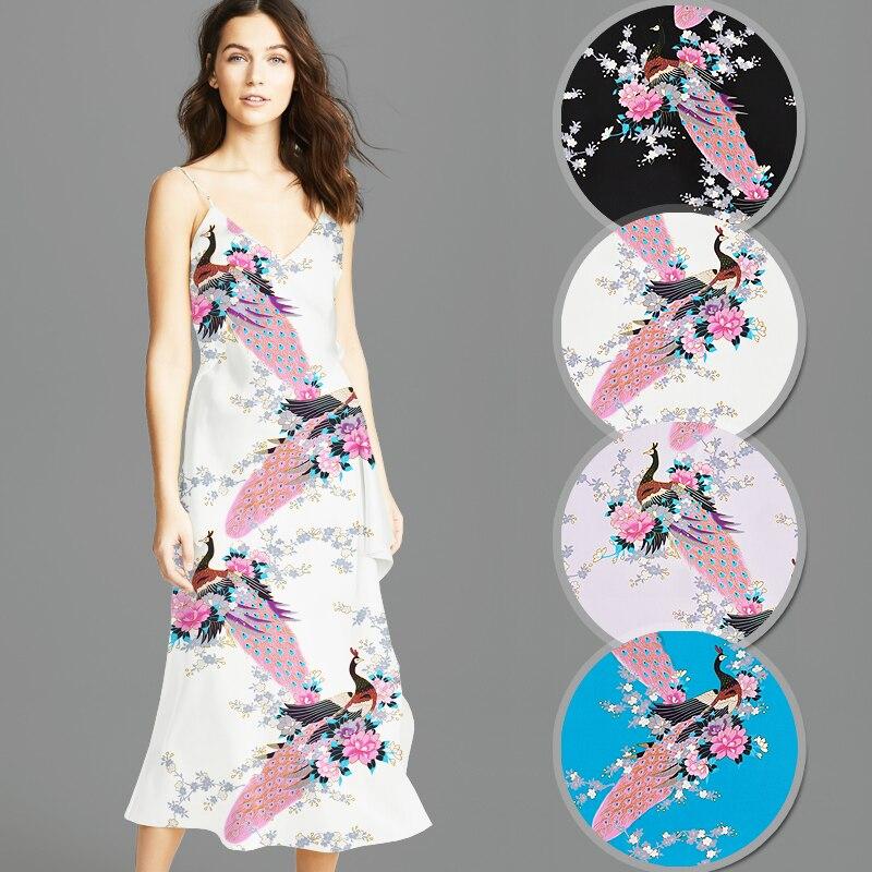 114 CM de large 16.5 MM imprimé paon bleu noir rose soie crêpe tissu uni bon pour la robe d'été jupe chemise pantalon JH148