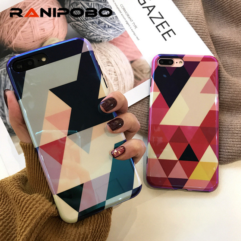 Cool Laser Colorful Geometric Splice Smooth Phone Case For iPhone 6 6S 7 8 Plus X Soft IMD Phone Back Cover Blu - Ray Case