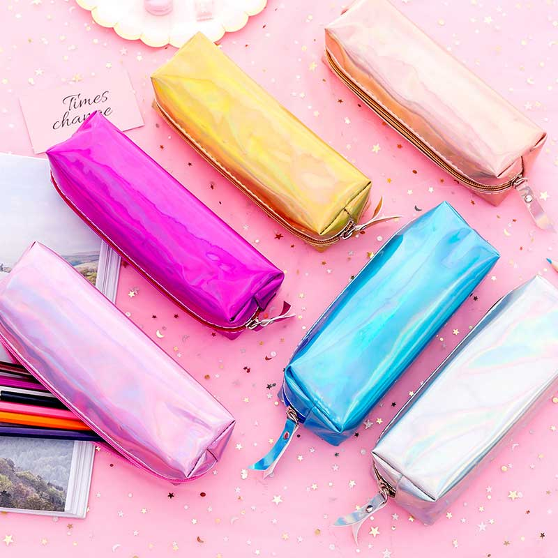 Holographic Kawaii Bag Cool Pencil Case Super PU Laser Pencils Bags Camouflage Military Stationery Pouch Office School Supplies