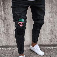 2018 mężczyźni marka hafty dżinsy moda męska Casual Slim fit prosto wysoka rozciągliwość stopy obcisłe dżinsy rurki męskie czarne spodnie homme tanie tanio Zipper fly Kolorowe Szczupła Moto Biker Heavyweight Pełnej długości Denim Stałe WP002 Jeans Powlekane Ołówek spodnie