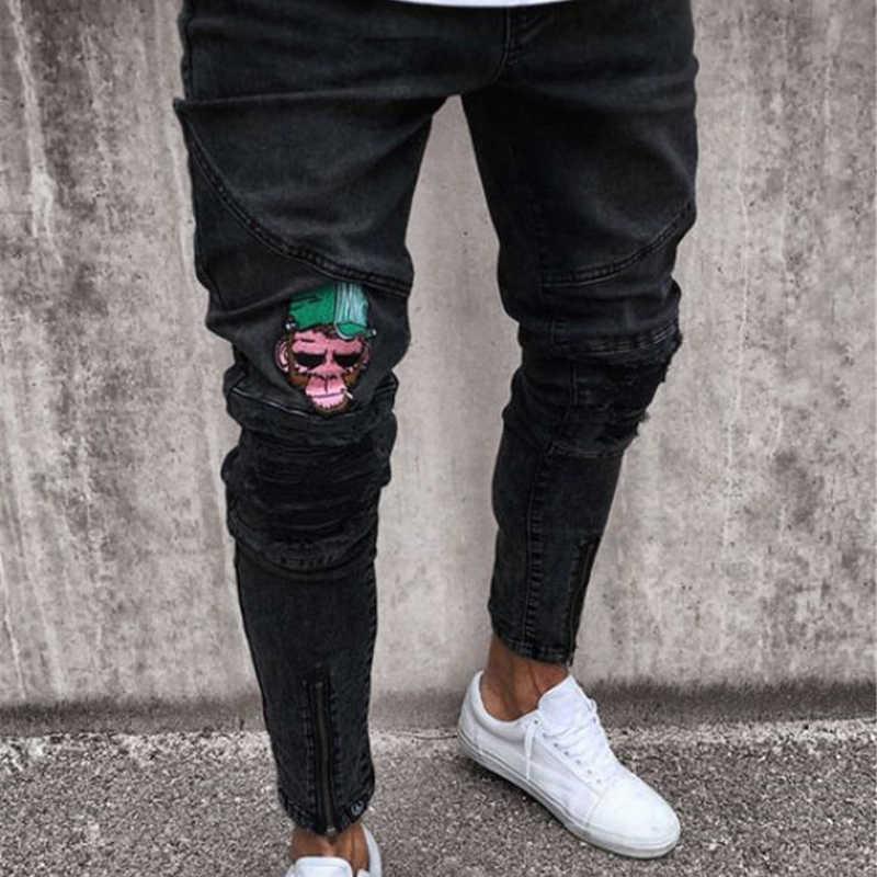 5d589376134 Модные Для мужчин Повседневное тонкий Штаны 2019 Для мужчин Марка Вышивка  джинсы Прямые Высокое стрейч ноги