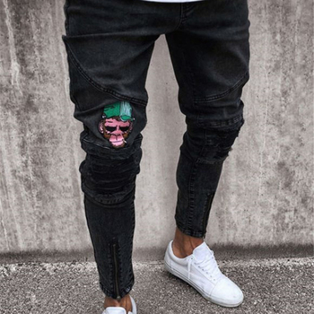 cheap black embroidery fashion men casual slim fit jeans