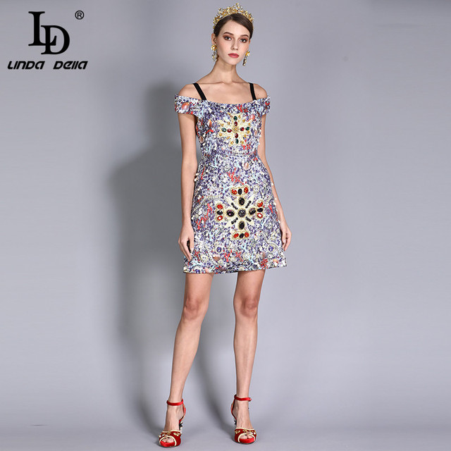 Women's Luxury Crystal Diamonds Beading Printed Vintage Dress
