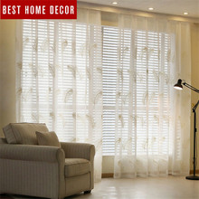 BHD minimalism embroidered tulle sheer for window curtains for living room the bedroom modern tulle curtains fabric drapes