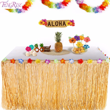 FENGRISE Colorful Flowers Artificial Grass Table Skirt Hawaiian Luau Party Decoration Wedding Event Tableware Accessories