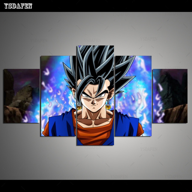5 pieces canvas painting gogeta ultra instinct painting home
