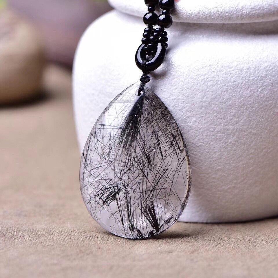 Luxury Natural Black Rutilated Quartz Pendant 44x32x11mm Bead Charms Women Necklaces Crystal Jewelry Pendant AAAAA Drop