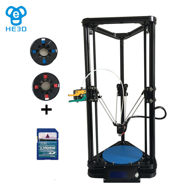 he3d auto level single extruder K200 delta diy 3d printer kit support multi material filament high precision high quality new upgrade he3d high presicion k200 dual aluminium extruder delta diy 3d printer with heat bed supporting multi filaments%2