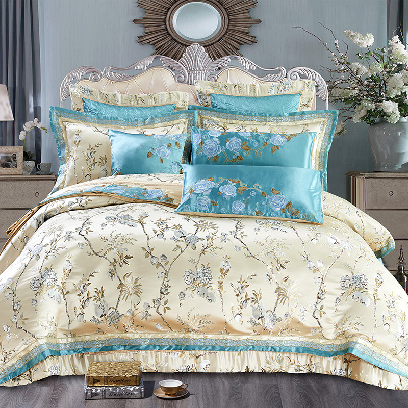 4/6/10 Pcs Luxury Embroidery Satin Cotton Queen King Bedding set Wedding Bedspread sheets set Duvet cover set Boho Bedding set